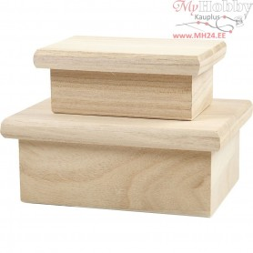 Boxes with lids, inner size 11,5x8,6x5,2 cm, inner size 8x4,5x4 cm, empress wood, 2pcs