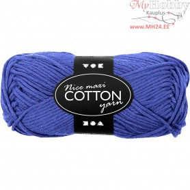 Cotton Yarn, L: 80-85 m, cobalt blue, maxi, 50g