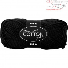 Cotton Yarn, L: 80-85 m, black, maxi, 50g