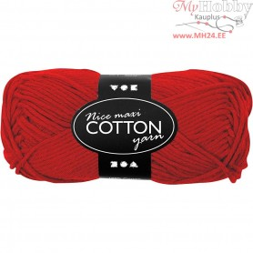 Cotton Yarn, L: 80-85 m, red, maxi, 50g