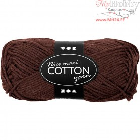 Cotton Yarn, L: 80-85 m, brown, maxi, 50g