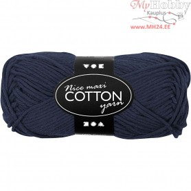 Cotton Yarn, L: 80-85 m, dark blue, maxi, 50g