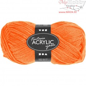 Fantasia Acrylic Yarn, L: 80 m, neon orange, 50g