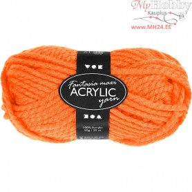 Fantasia Acrylic Yarn, L: 35 m, neon orange, Maxi, 50g