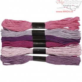 Embroidery Floss, thickness 1 mm, purple harmony, 6bundles