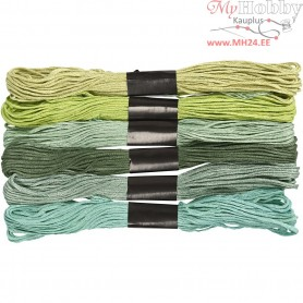 Embroidery Floss, thickness 1 mm, green harmony, 6bundles