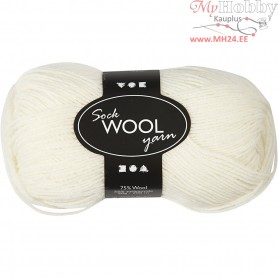 Sock Yarn, L: 200 m, off-white, 50g