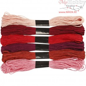 Embroidery Floss, thickness 1 mm, red harmony, 6bundles