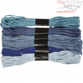 Embroidery Floss, thickness 1 mm, blue harmony, 6bundles
