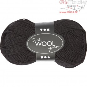 Sock Yarn, L: 200 m, black, 50g