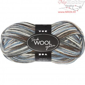 Sock Yarn, L: 200 m, blue/grey harmony, 50g