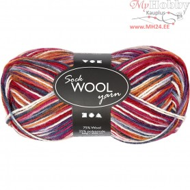 Sock Yarn, L: 200 m, blue/red harmony, 50g