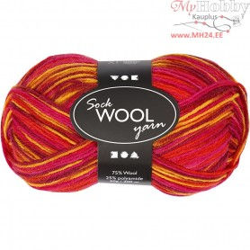 Sock Yarn, L: 200 m, red/orange harmony, 50g