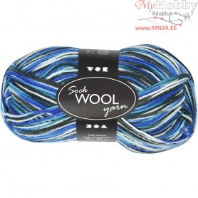 Sock Yarn, L: 200 m, blue/turkis harmony, 50g