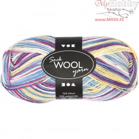 Sock Yarn, L: 200 m, off-white/purple harmony, 50g