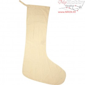 Christmas Stocking, size 80x30 cm, light natural, 1pc