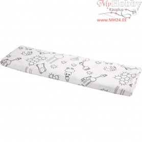 Fabric, W: 145 cm,  140 g/m2, white/black, 10m