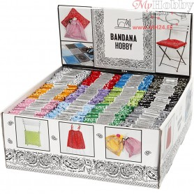 Display Box of Printed Bandanas, size 55x55 cm, asstd colours, 12x12pcs