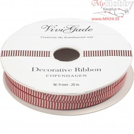 Decorative Ribbon, W: 9 mm, stripes, 20m