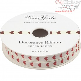 Decorative Ribbon, W: 9 mm, hearts, 20m