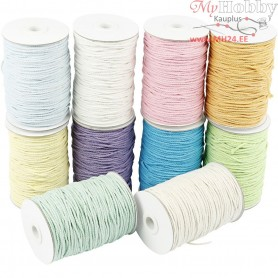 Cotton Twine, L: 100 m, thickness 2 mm, pastel colours, Thick quality 12/36, 10x225g