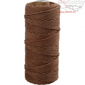 Cotton Twine, L: 100 m, thickness 2 mm, brown, Thick quality 12/36, 225g