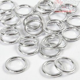 Plastic Ring, outer size 15 mm, inner size 11 mm, silver, 25pcs, thickness 2 mm