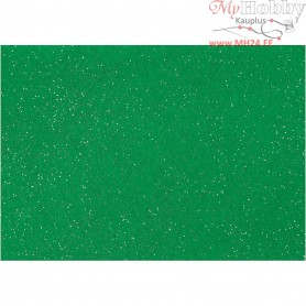 Craft Felt, A4 21x30 cm, thickness 1 mm, green, silver glitter sprinkle, 10sheets