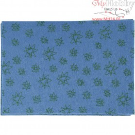 Craft Felt, A4 21x30 cm, thickness 1 mm, blue, green glitter stars, 10sheets