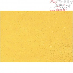 Craft Felt, A4 21x30 cm, thickness 1 mm, yellow, silver glitter sprinkle, 10sheets