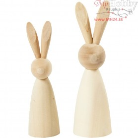 Wooden Rabbits, H: 12+14 cm, poplar wood, 2pcs, depth 3,5+4 cm