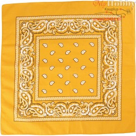 Printed Bandana, size 55x55 cm, yellow, 1pc
