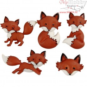 Novelty Buttons, W: 16-34 mm, H: 16-27 mm, outfoxed, 5pcs