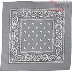 Printed Bandana, size 55x55 cm, grey, 1pc