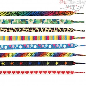 Shoelaces, L: 115 cm, W: 9 mm, asstd colours, 48pcs