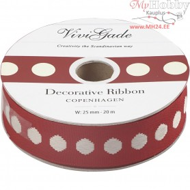 Decorative Ribbon, W: 25 mm, dots, 20m