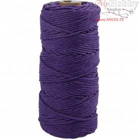 Cotton Twine, L: 100 m, thickness 2 mm, violet, Thick quality 12/36, 225g