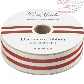 Decorative Ribbon, W: 25 mm, stripes, 20m