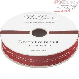 Decorative Ribbon, W: 9 mm, stitching, 20m