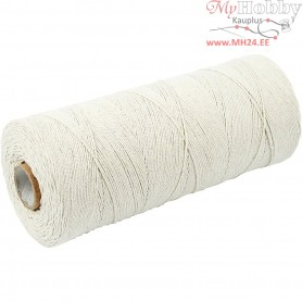 Cotton Twine, L: 700 m, light natural, Extra thin quality 12/6, 250g