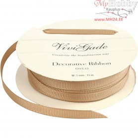 Decoration Ribbon, W: 5 mm, brown, 15m