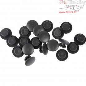Button shape, D: 15 mm, black, 50pcs