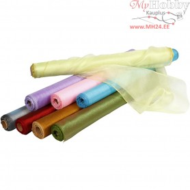 Organza Fabric, W: 50 cm, asstd colours, shine, 8x10m