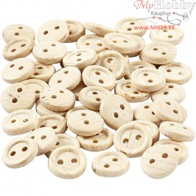 Wooden Buttons, D: 8 mm, two holes, 50pcs