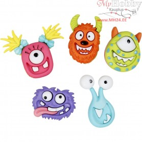 Novelty Buttons, size 15-25 mm, monsters, 5pcs
