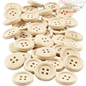 Wooden Buttons, D: 18 mm, with four holes, 40pcs