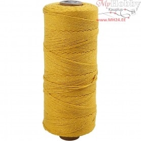 Cotton Twine, L: 320 m, thickness 1 mm, yellow, Thin quality 12/12, 220g