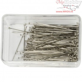 Straight Pins, L: 34 mm, thickness 0,6 mm, silver, 25g