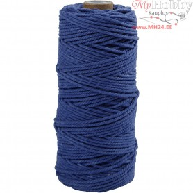 Cotton Twine, L: 100 m, thickness 2 mm, blue, Thick quality 12/36, 225g