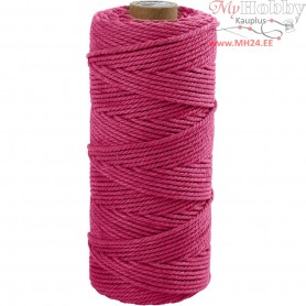 Cotton Twine, L: 100 m, thickness 2 mm, pink, Thick quality 12/36, 225g